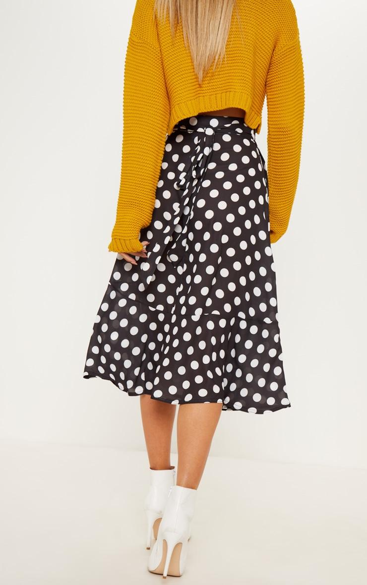 Black Polka Dot Frill Hem Tie Waist Midi Skirt 4