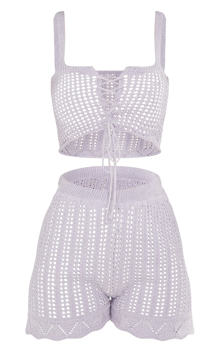 Lilac Crochet Lace Up Top And Short Set 5