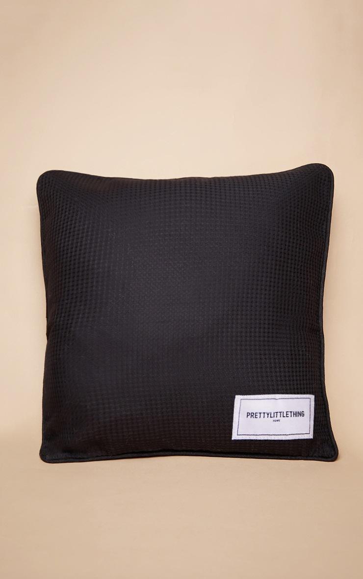 PRETTYLITTLETHING Black Waffle Large Cushion 3