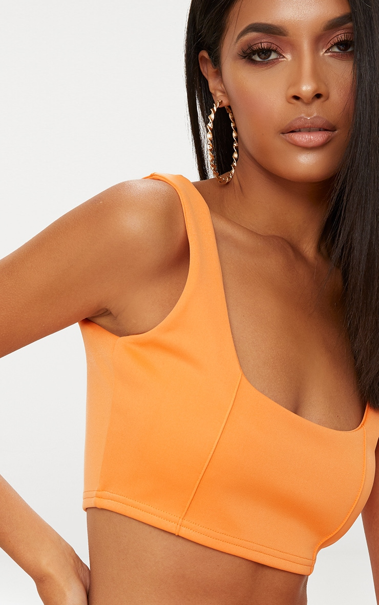 Tangerine Square Neck Zip Back Crop Top 5
