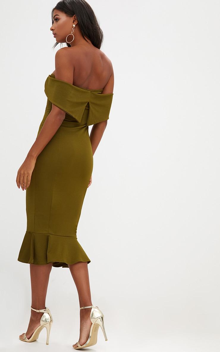 Olive Green Bardot Frill Hem Midi Dress 2