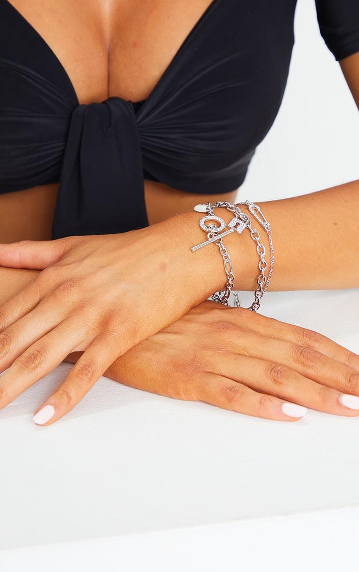 Silver Diamante Assorted Bracelets 1