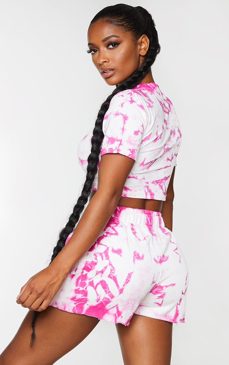 Shape Pink Tie Dye Cotton Short Sleeve Crop Top 2