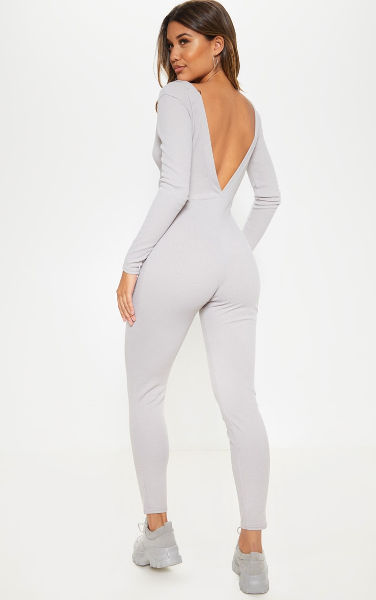 Grey Fine Rib Button Up Long Sleeve Jumpsuit 2