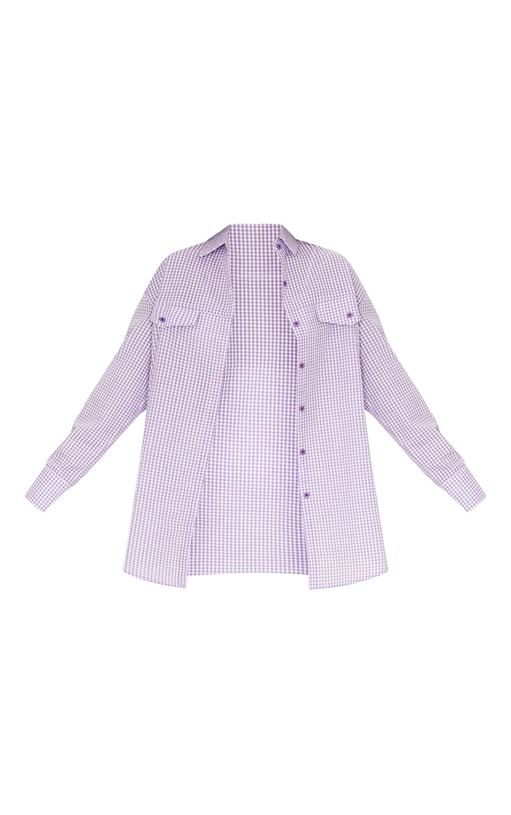 Lilac Gingham Checked Oversized Shirt 5