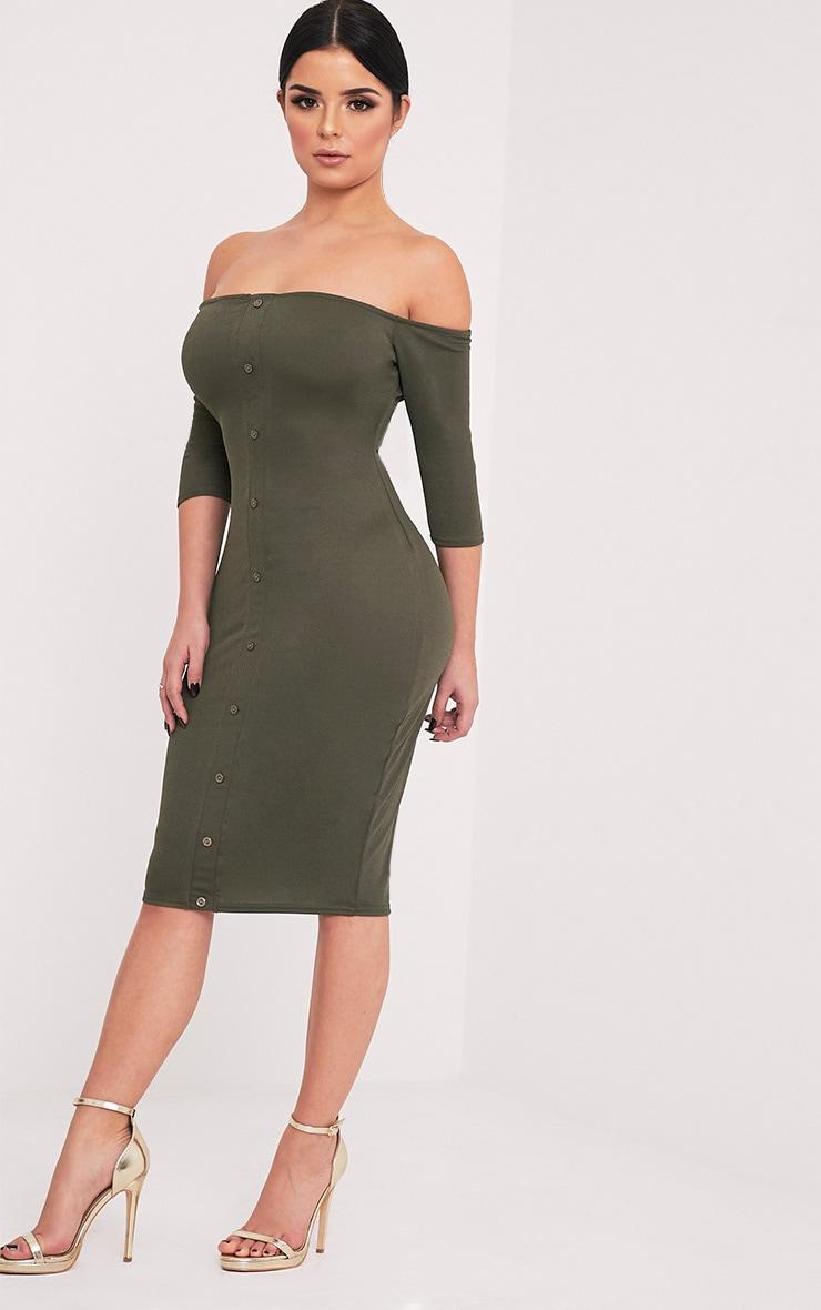 Shape Laurenna Khaki Bardot Button Midi Dress  4