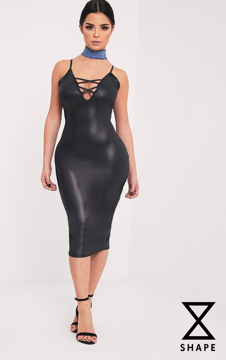Shape Joleene Black Wet Look Plunge Midi Dress  1