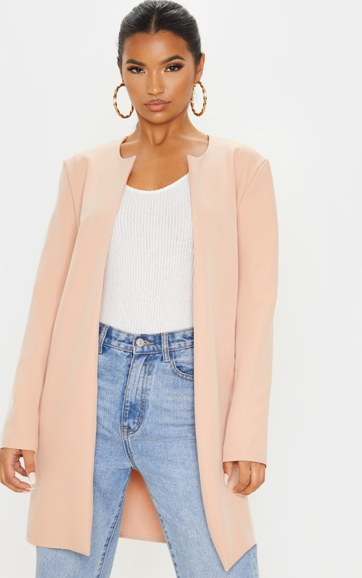 Stone Collarless Longline Jacket 4