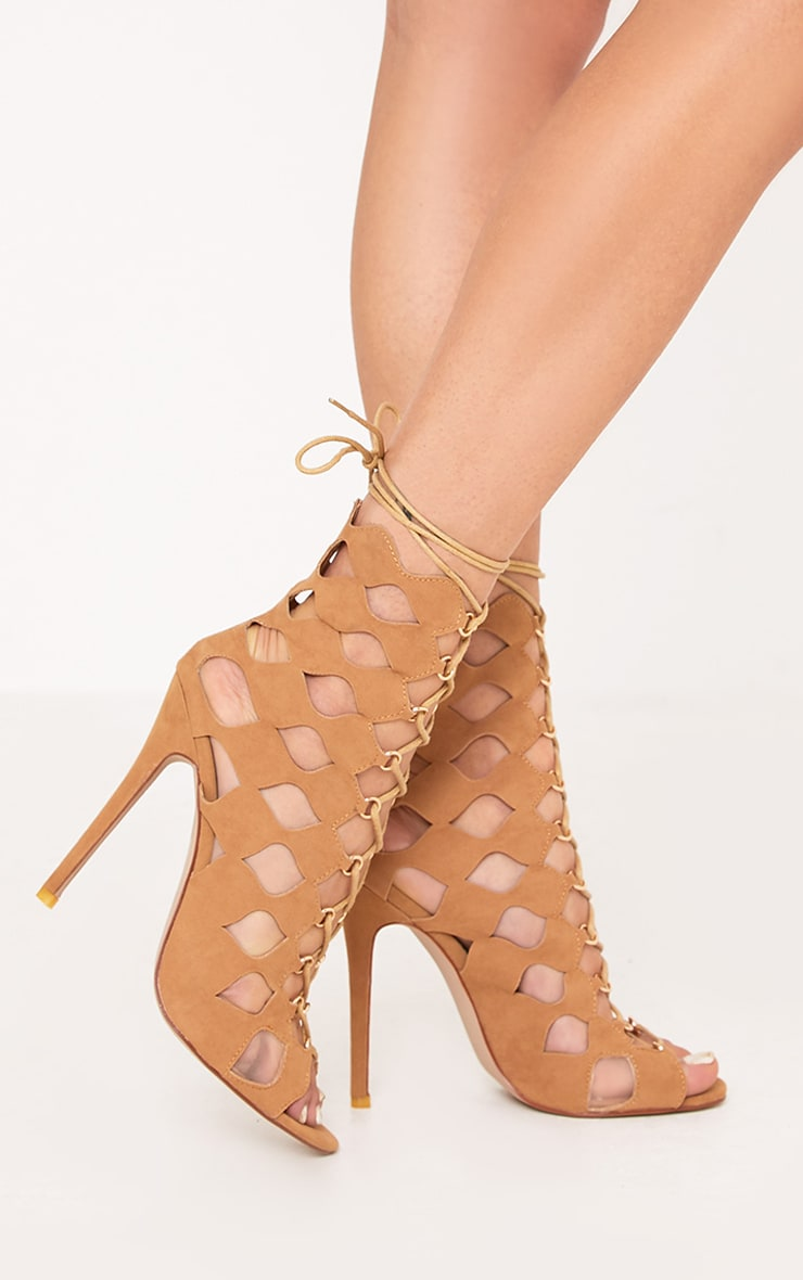 Chey Camel Geometric Cut Out Lace Up Heels 3