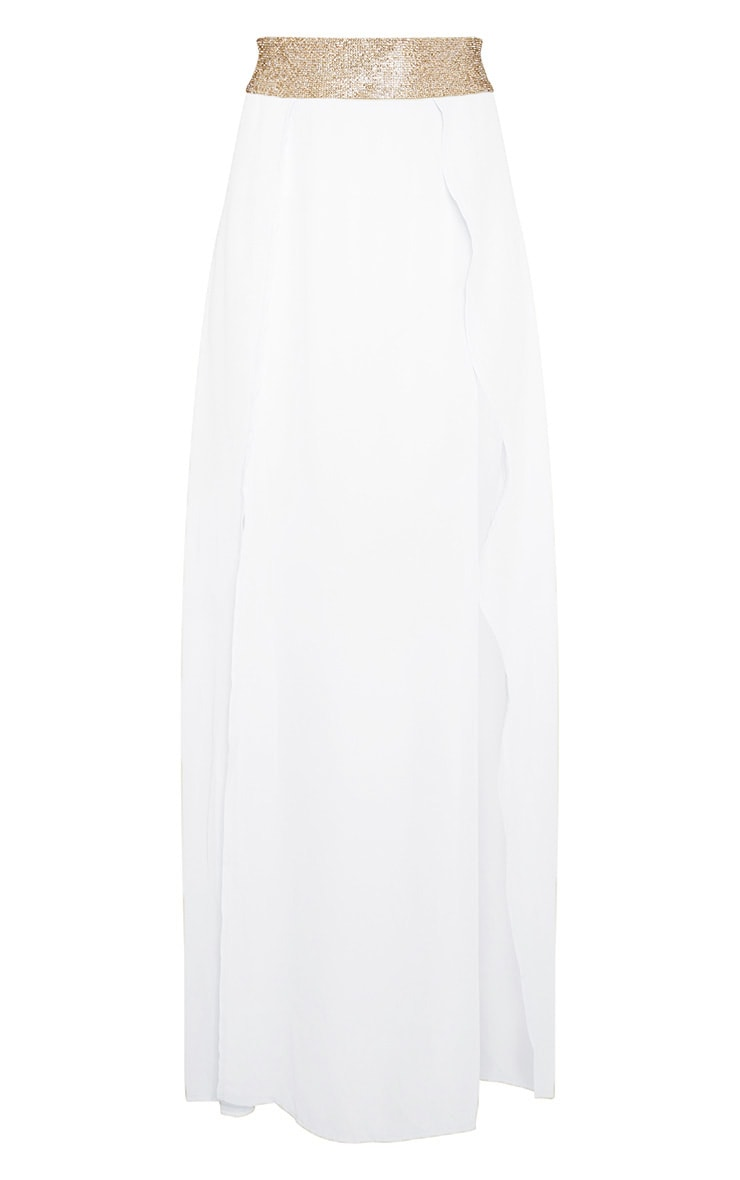Cream Diamante Waist Split Beach Skirt 3