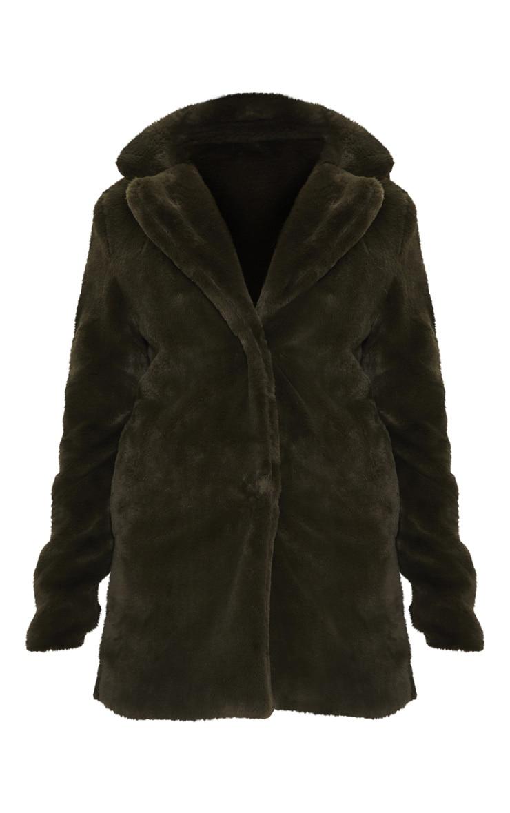 Petite Olive Green Faux Fur Coat 3