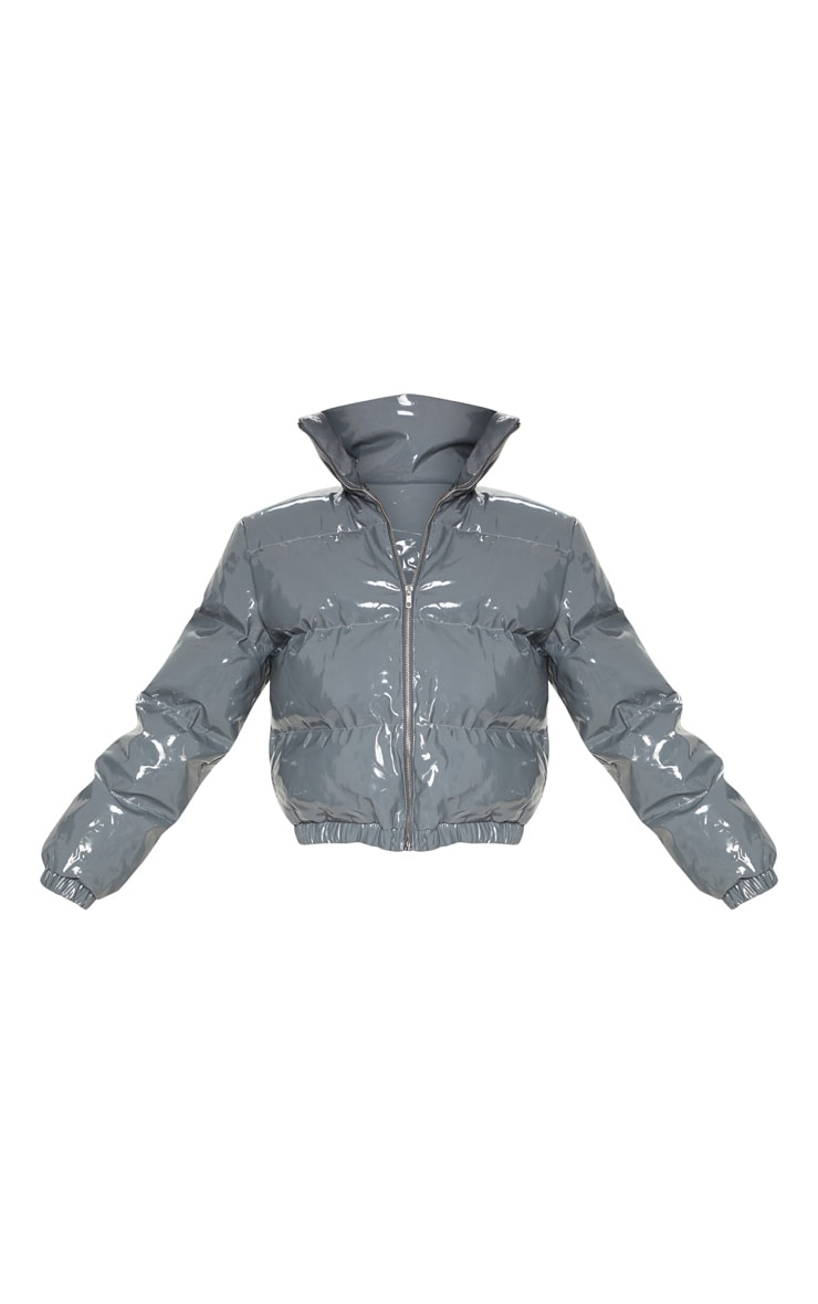 Dark Grey Vinyl Puffer Coat 3