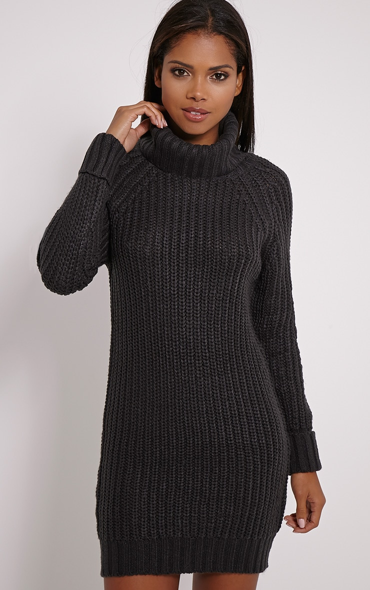 Rania Charcoal Chunky Turtle Neck Jumper Dress 1