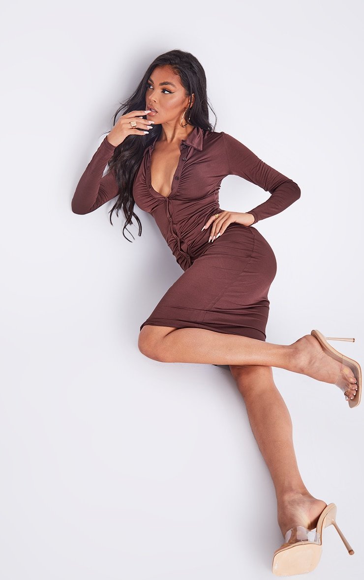 Chocolate Slinky Ruched Button Down Midi Shirt Dress 3
