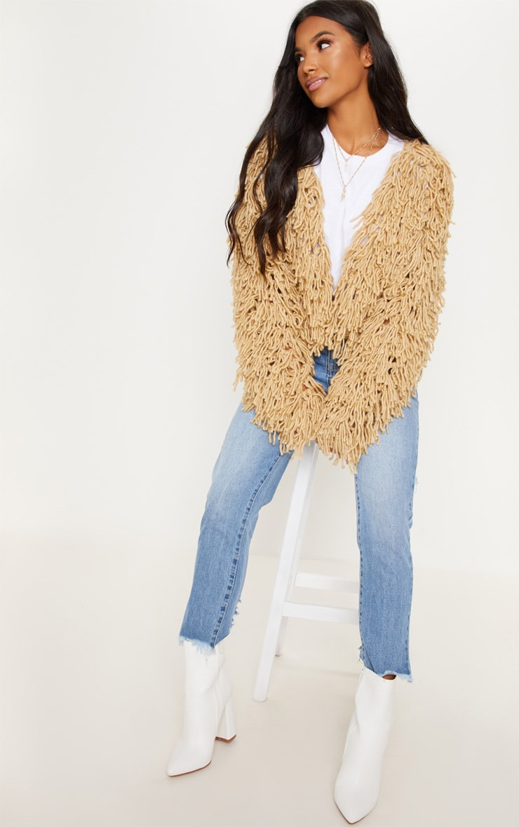 Camel Shaggy Knitted Cardigan  3