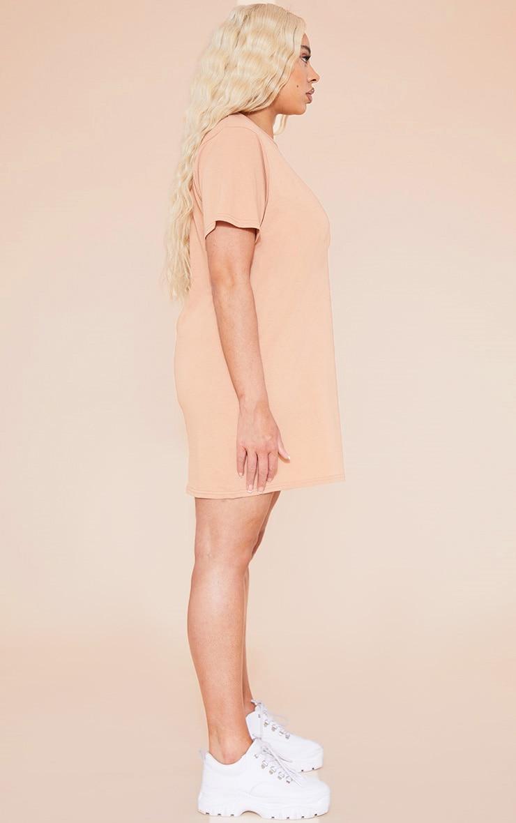 RECYCLED Plus Pale Tan T Shirt Dress 2