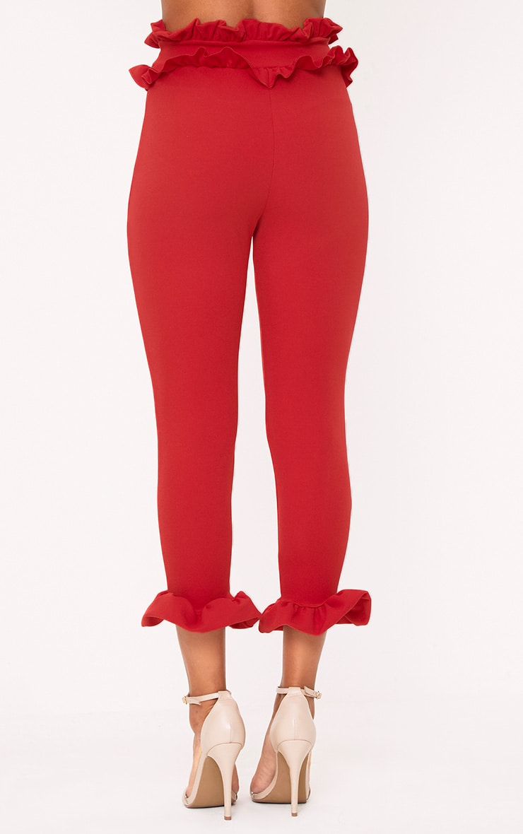 Red Frill Trim Trousers 4