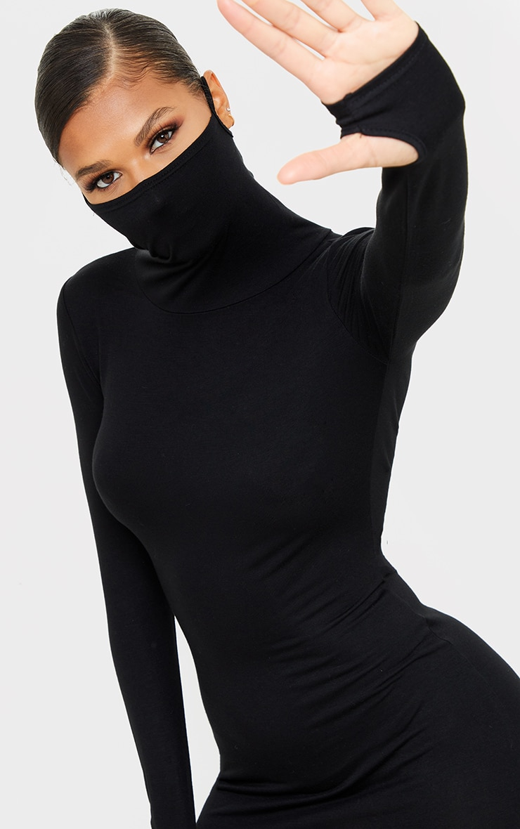 Black Jersey Long Sleeve Mask Bodycon Dress 4