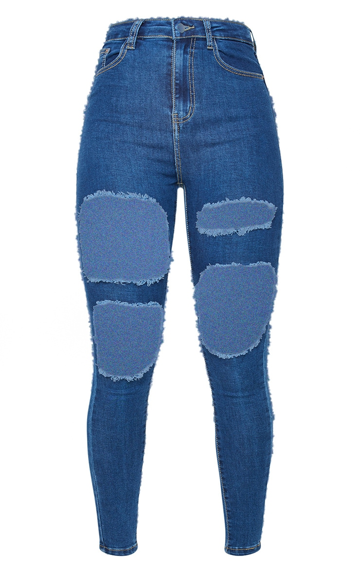PRETTYLITTLETHING Mid Blue Wash Open Thigh Distressed 5 Pocket Skinny Jeans 5