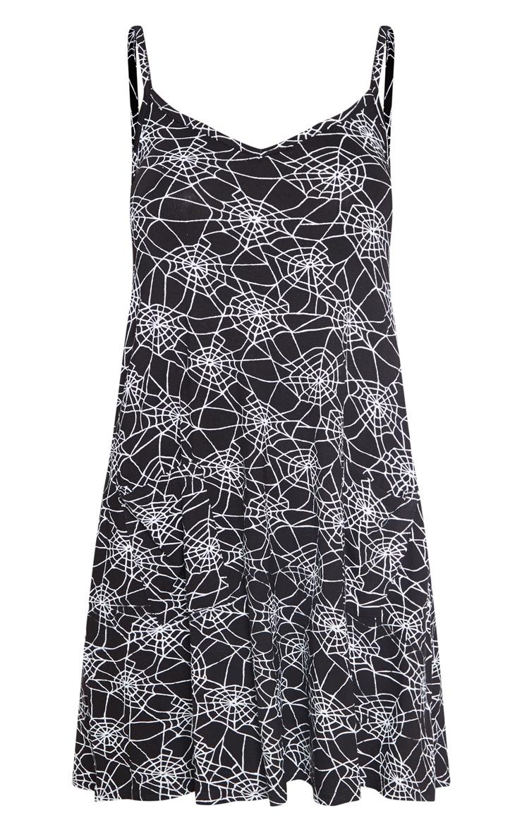 Black Spider Web Printed Swing Dress 3