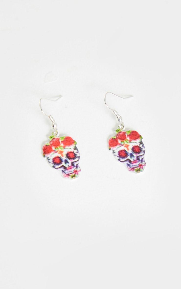 Red Flower Skull Earrings 1