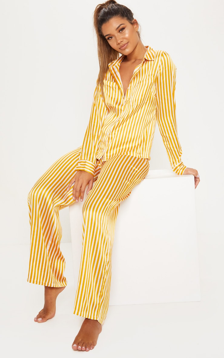 Mustard & White Stripe Satin Long Leg PJ Set 1