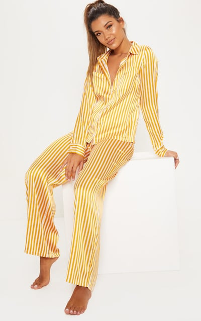 a57e89a8c50e Mustard   White Stripe Wide Leg PJ Set