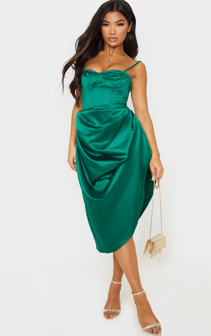 Emerald Green Satin Woven Cup Detail Strappy Corset 4