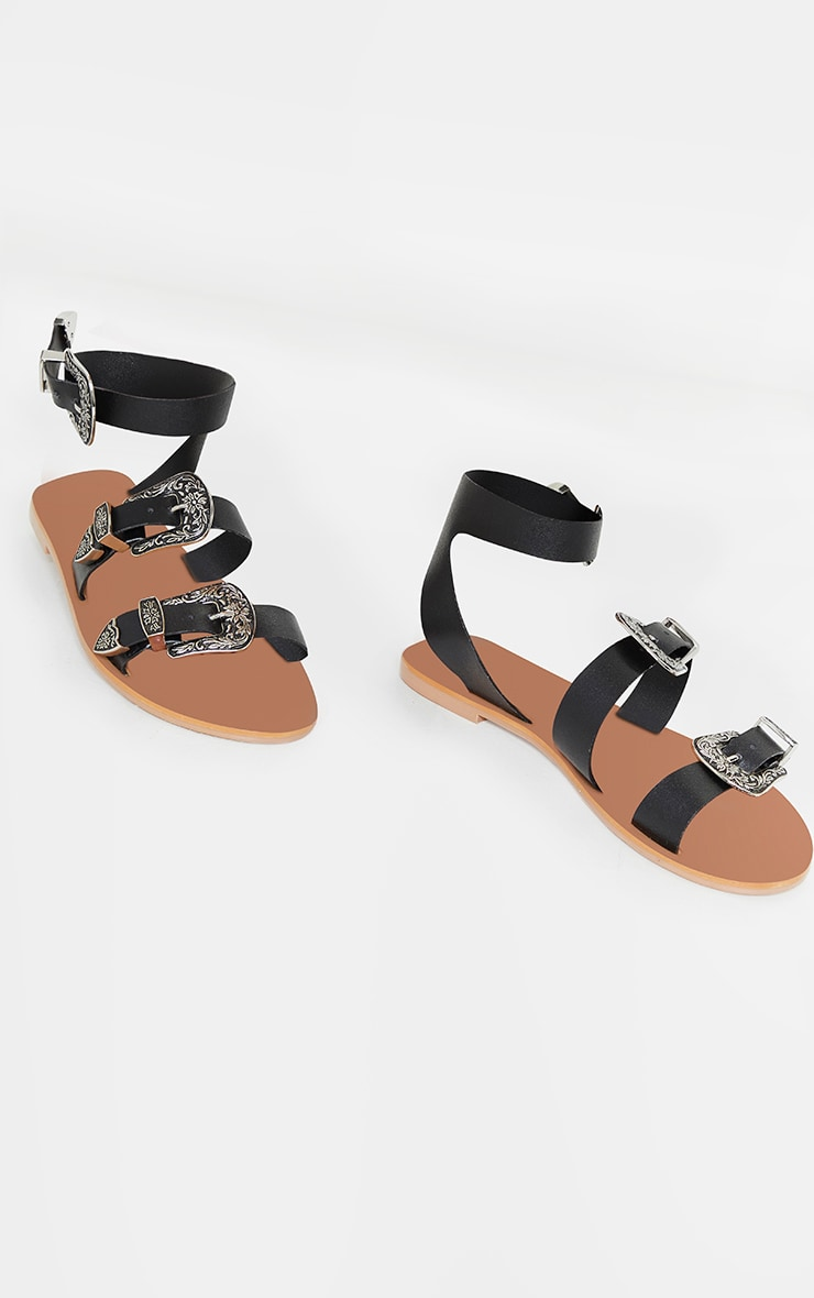 Black Western Buckle Leather Sandals 3