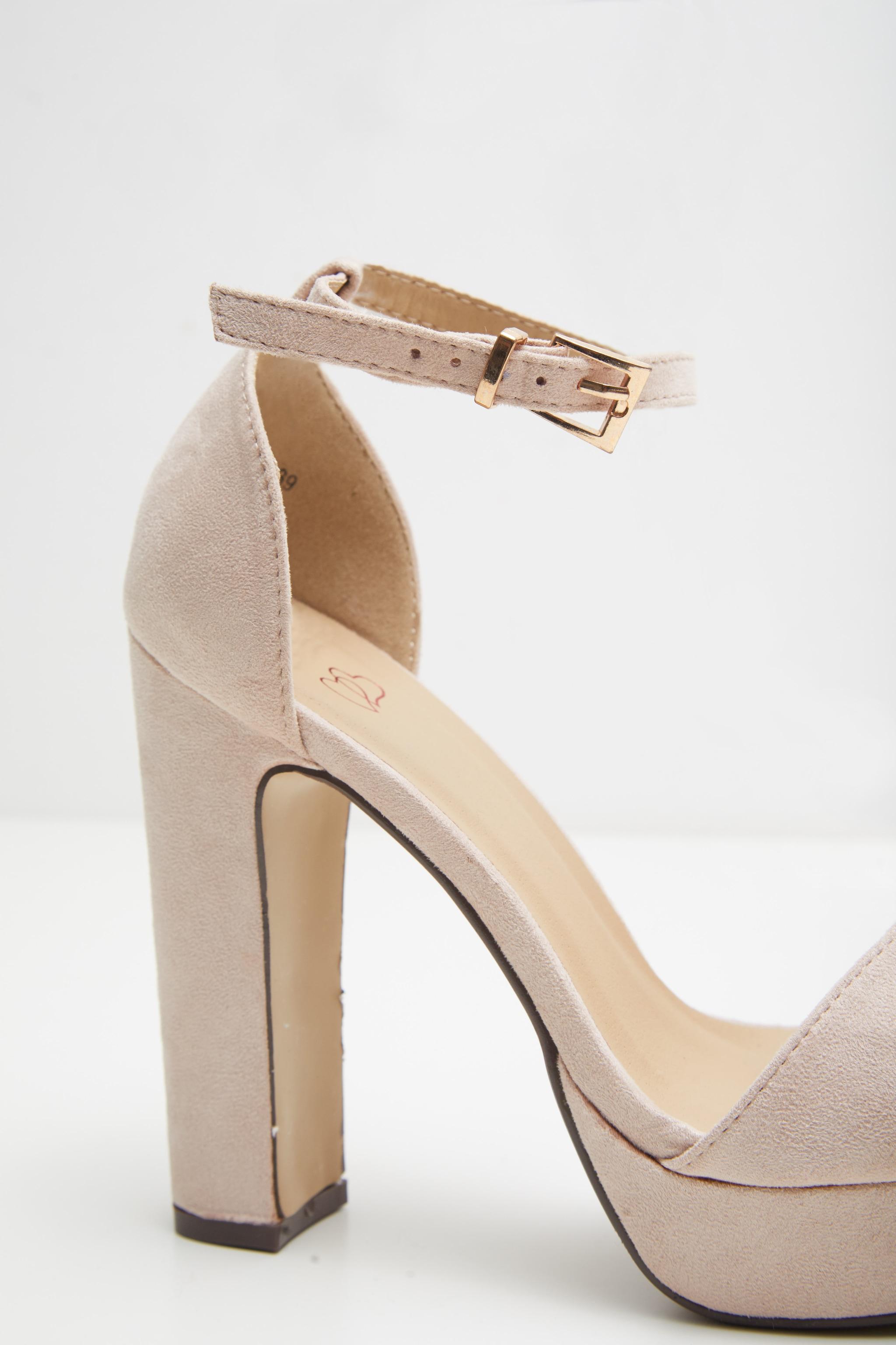 Taya Nude Faux Suede Platform Sandals 4
