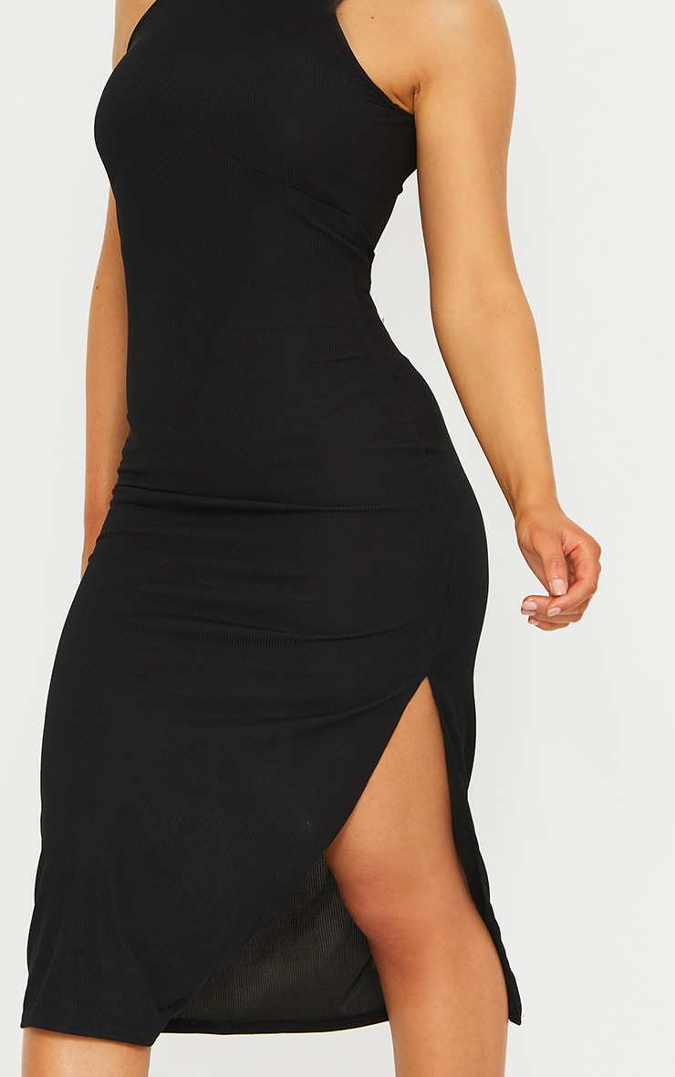 RECYCLED Black Rib Racer Neck Underbust Detail Split Midi Dress 4