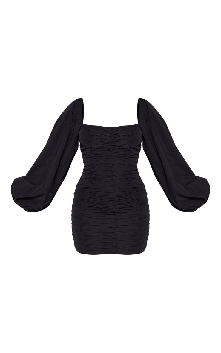 Black Balloon Sleeve Ruched Bodycon Dress 3