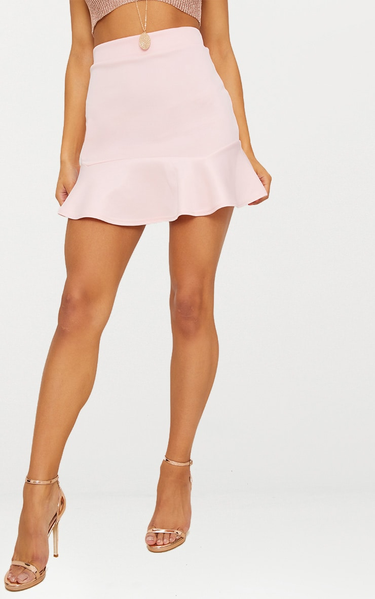 Pale Pink Flippy Hem Mini Skirt 2