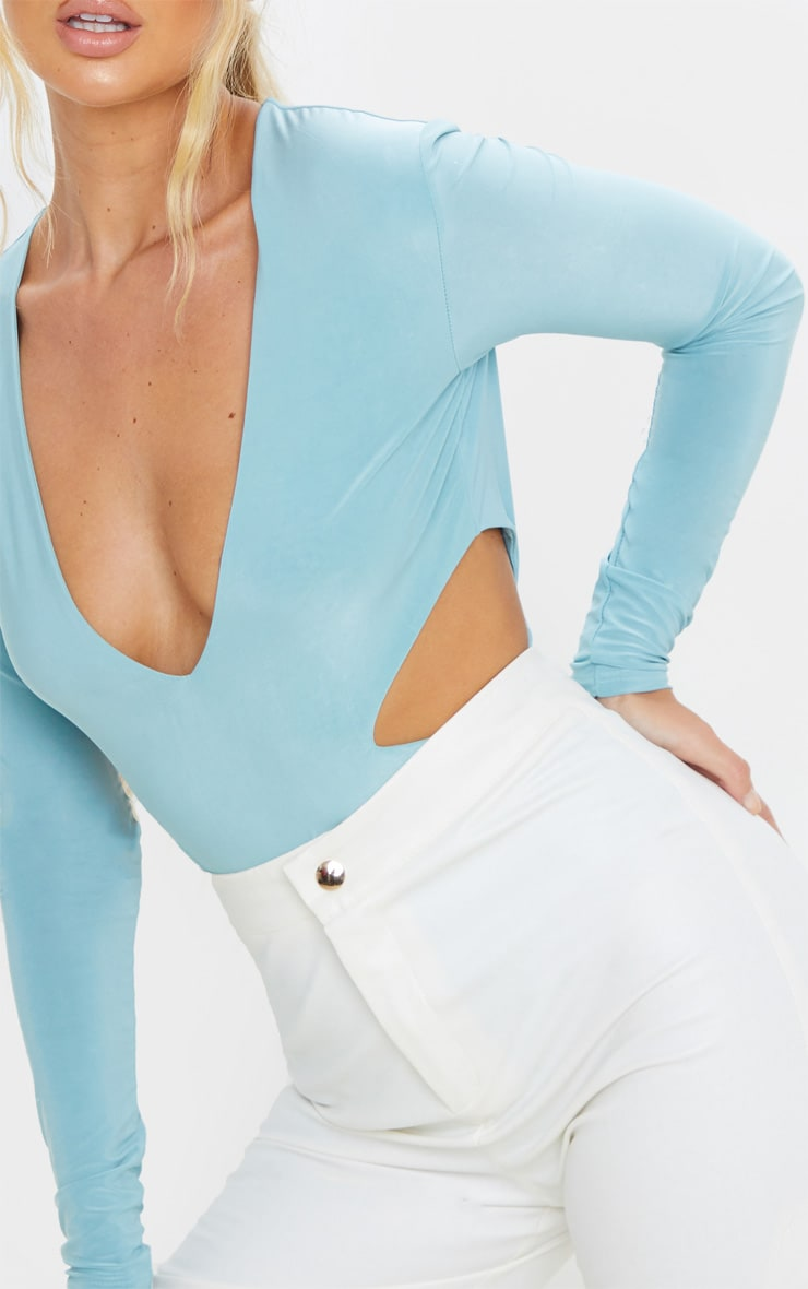 Dusty Turquoise Slinky Plunge Neck Cut Out Bodysuit  6