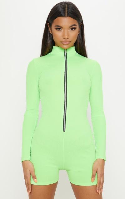 11136d54c8 Neon Lime Fine Rib Zip Detail Unitard
