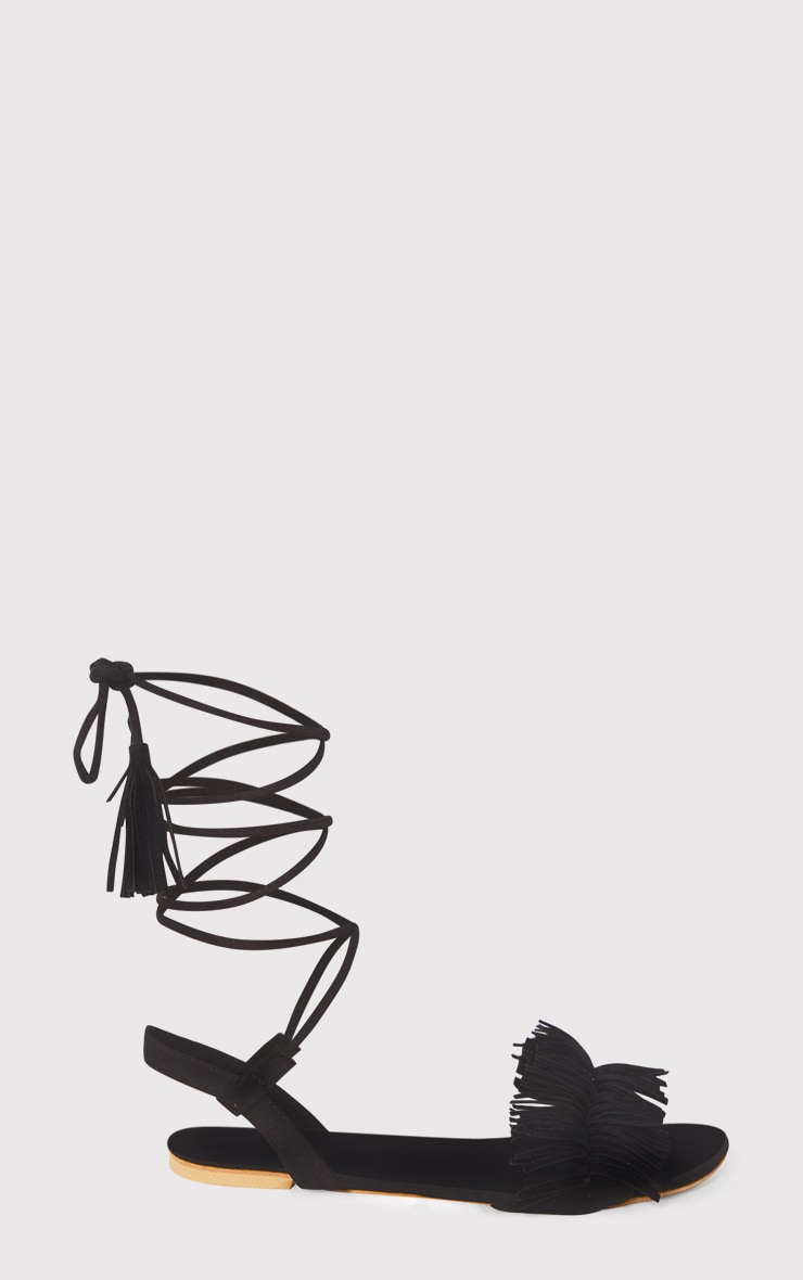 Alis Black Tassel Lace Up Flat Sandals 3