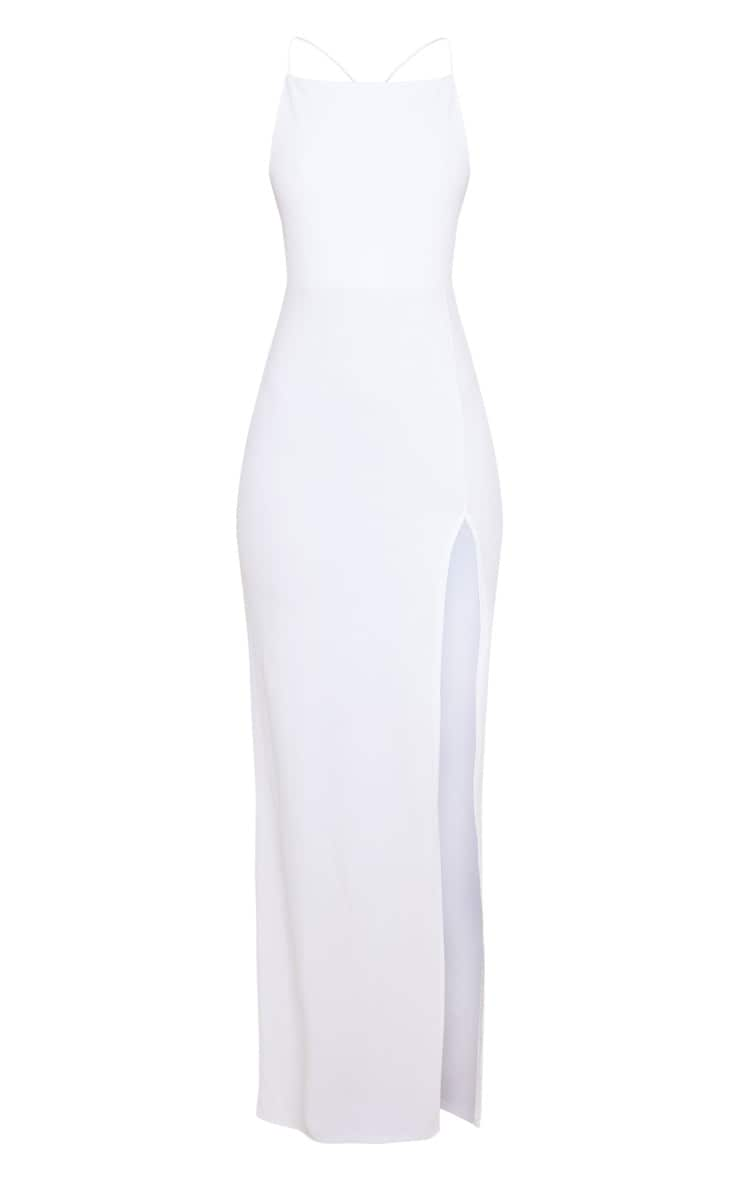 White Straight Neck Cross Back Maxi Dress 3