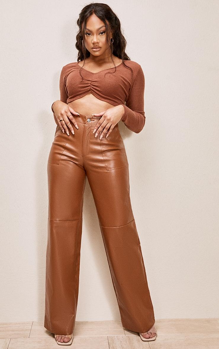 Tan Faux Leather Stitch Detail Wide Leg Trouser 1