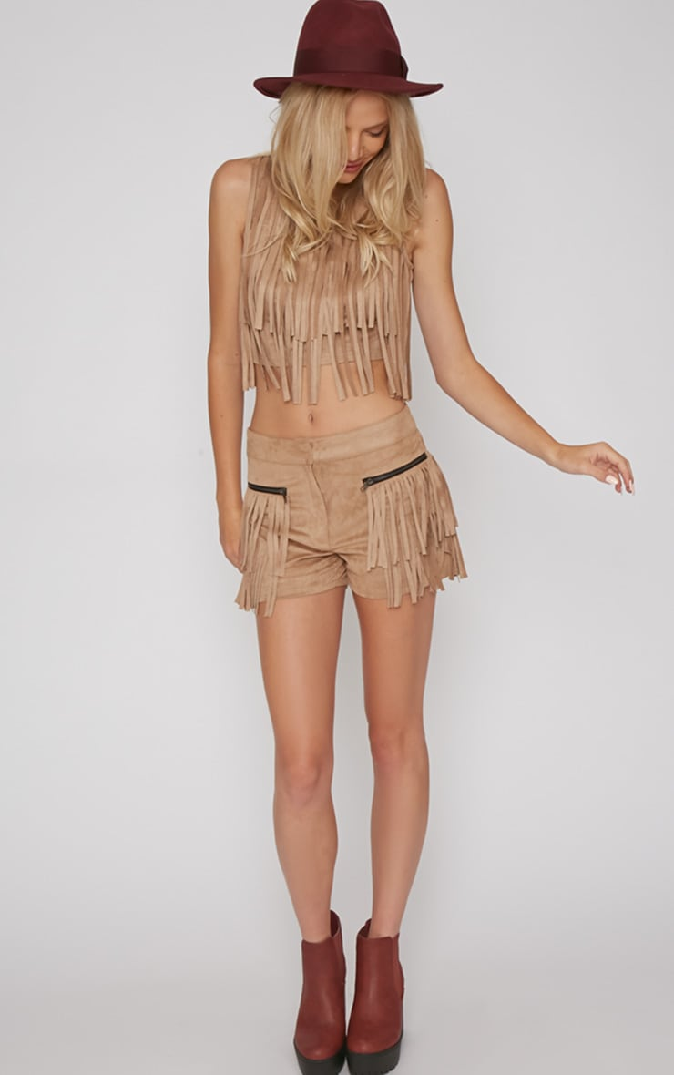 Elina Camel Fringed Short  1