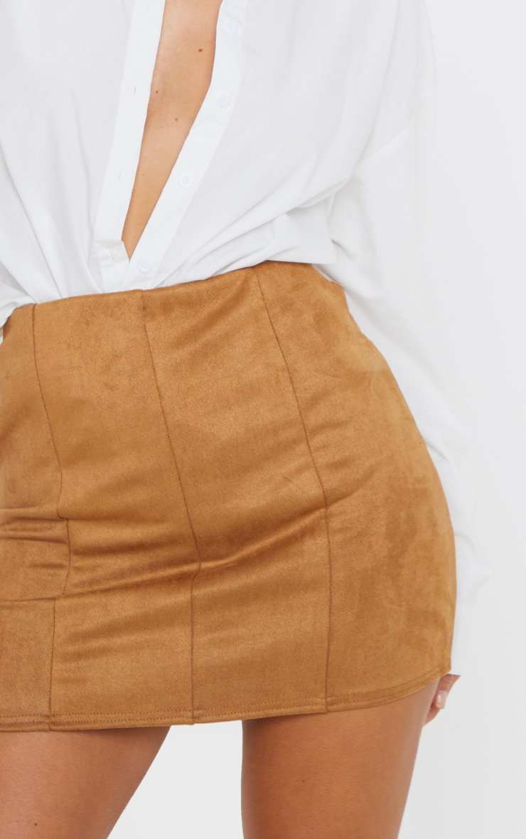 Camel Faux Suede Seam Detail Mini Skirt 6