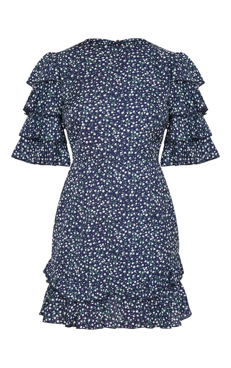 Petite Navy Ditsy Floral Open Back Frill Sleeve Mini Dress 3