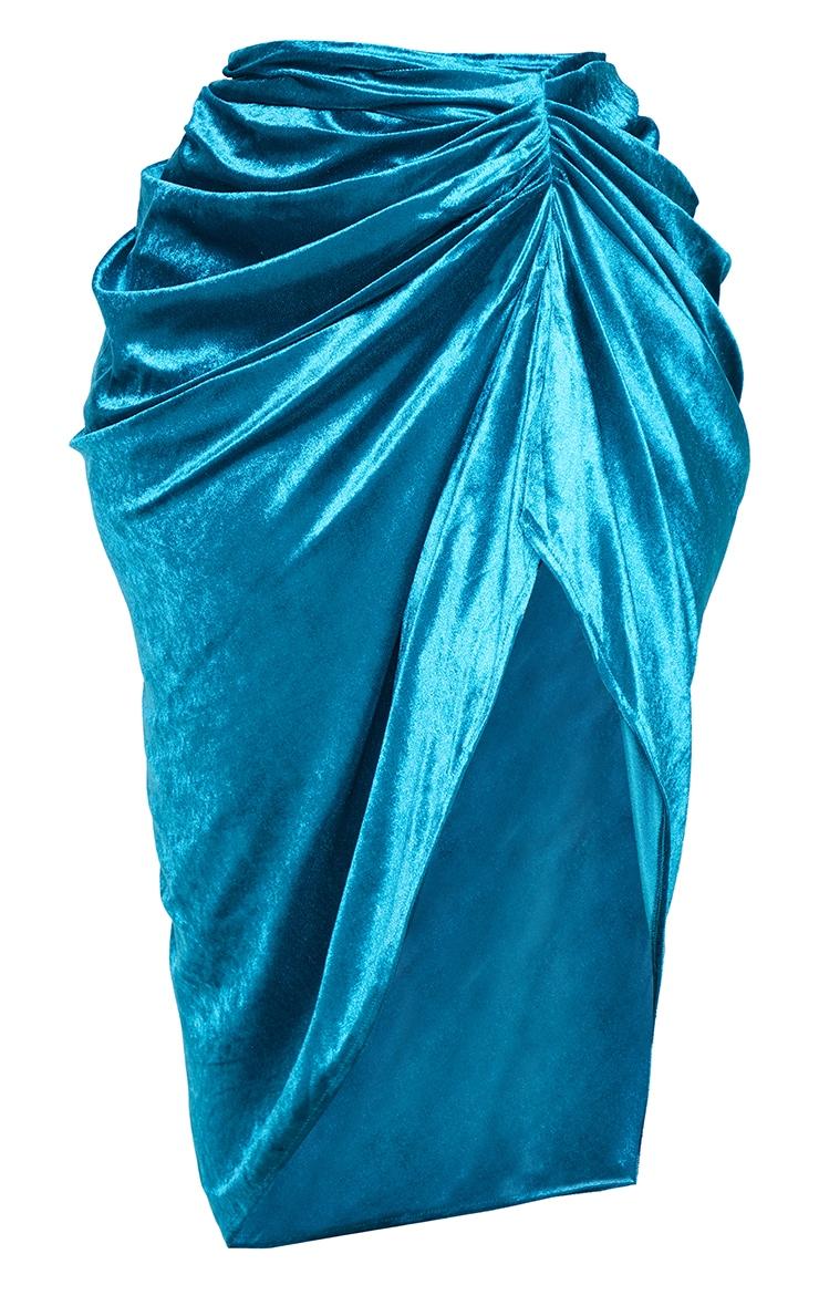 Plus Teal Velvet Ruched Side Midi Skirt 5
