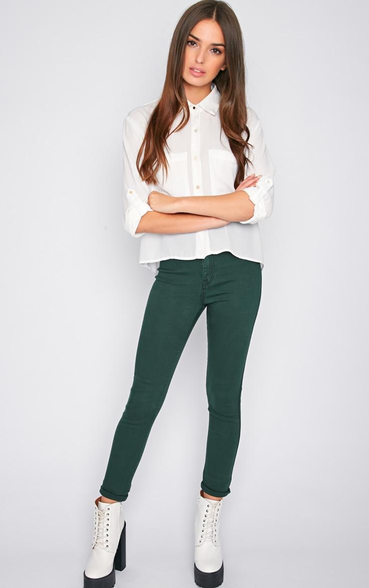 Dina Green High Waist Skinny Jean  5