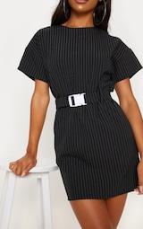 Black Pin Stripe Belt T Shirt Dress 5