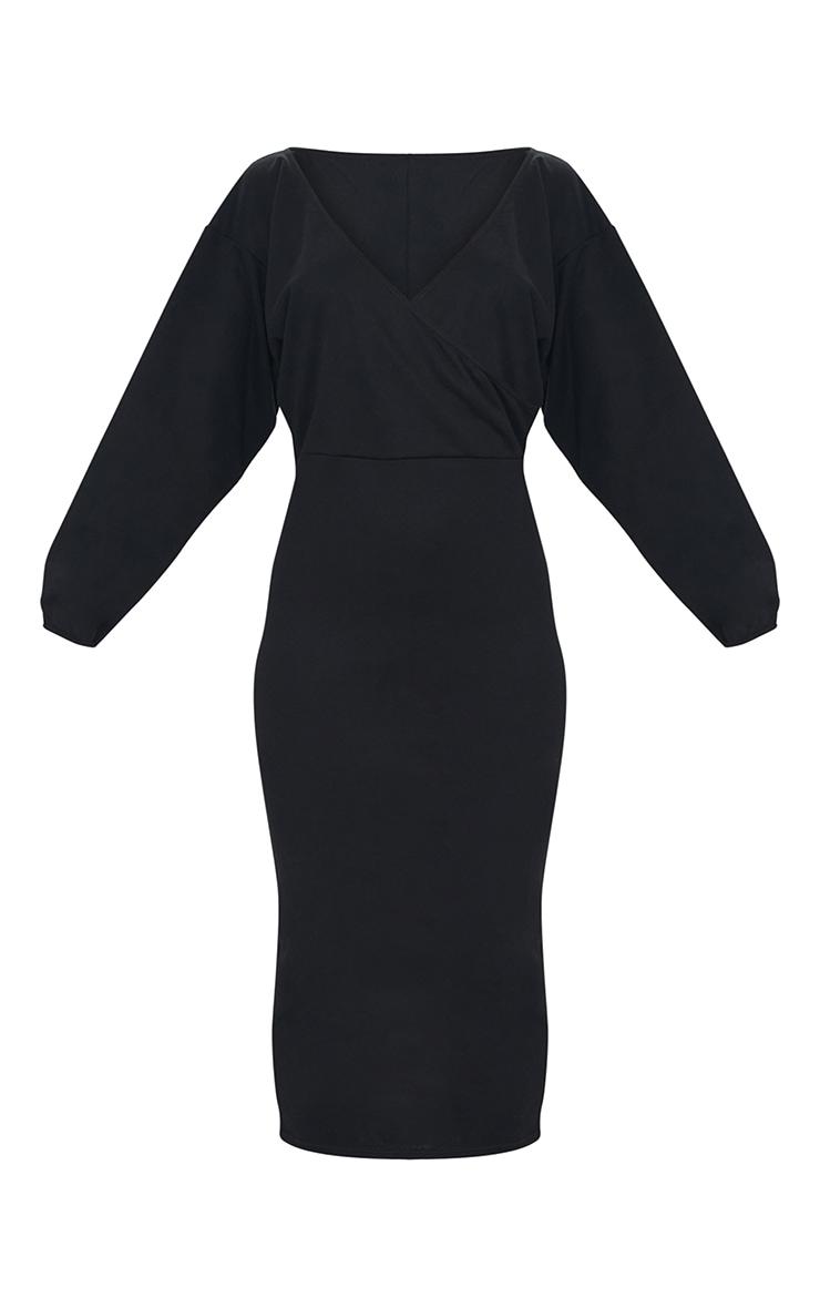 Black V Neck Wide Sleeve Maxi Jumper Dress 5