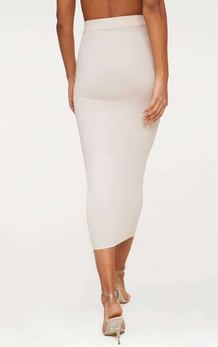 Cream Second Skin Bodycon Midaxi Skirt 5