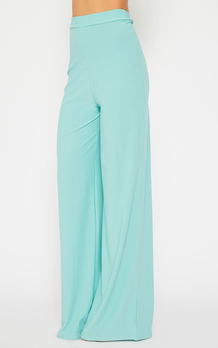 Zafia Mint Crepe Palazzo Trousers 4