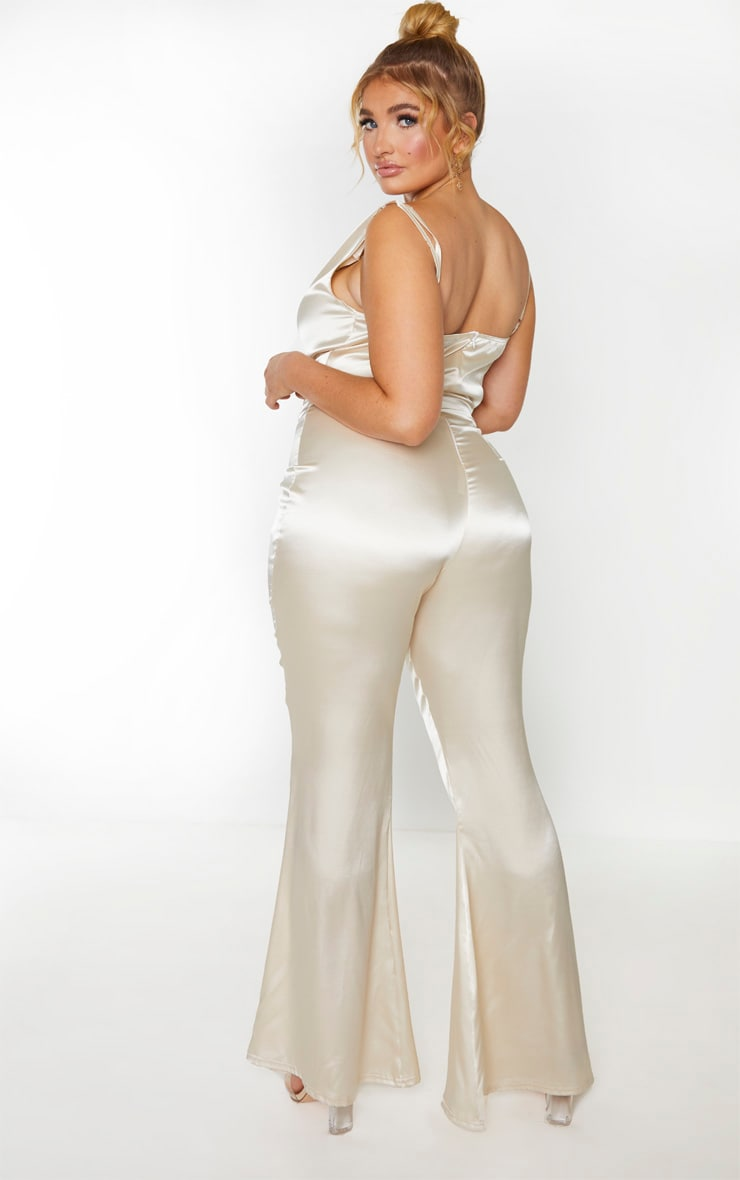 Plus Champagne Cowl Neck Satin Flared Jumpsuit 2