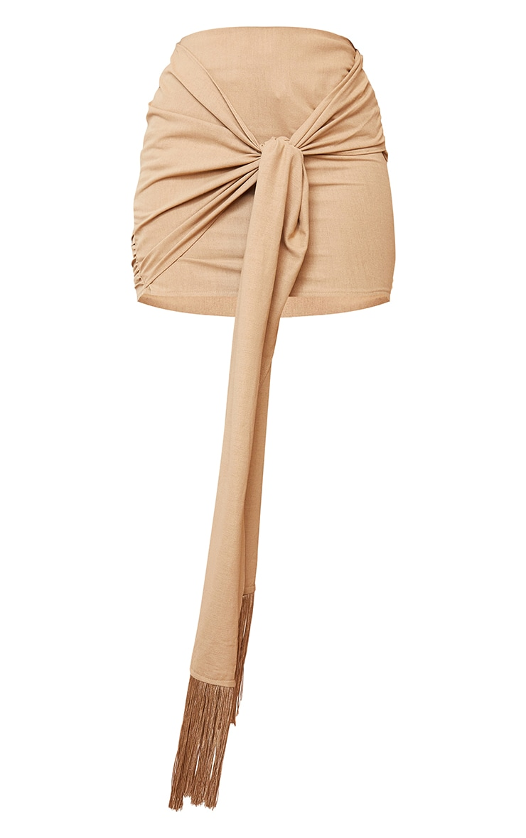 Sand Linen Feel Ruched Bum Extreme Tie Detail Mini Skirt 6