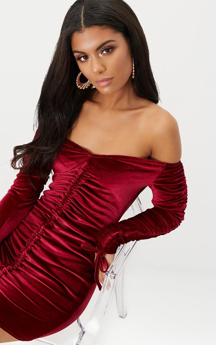 Burgundy Bardot Velvet Ruched Arm Ruched Front Bodycon Dress 5